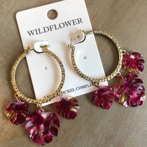 Jewelry - Gold Hoops with Pink Dangle Leaves Earrings